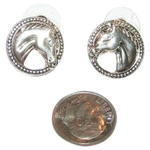 Silver Antiqued Horse Head Stud Earrings